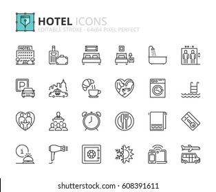 Outline icons about hotel. Editable stroke. 64x64 pixel perfect.