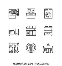 Outline icons about kitchen.