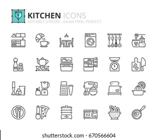 Outline icons about kitchen. Editable stroke. 64x64 pixel perfect.
