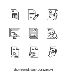 Outline icons about legal documents