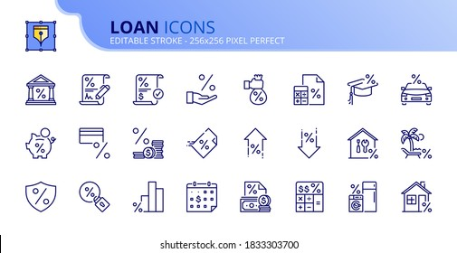 Outline icons about loan. Banking product. Contains such icons as bank, interest rate, payment, TAX, credit card, insurance, mortgage and consumer loan. Editable stroke Vector 256x256 pixel perfect