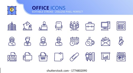 Outline icons about office. Business concept. Contains such icons as businessman, businesswoman, workplace, office supplies and devices. Editable stroke Vector 256x256 pixel perfect