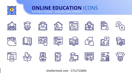 Outline icons about online education. Contains such icons as e-learning, video tutorial, e-book, training and webinar.  Editable stroke. Vector - 256x256 pixel perfect.
