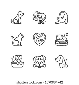 Outline icons about pets. Dogs and cats