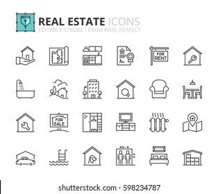 Outline icons about real estate. Editable stroke. 64x64 pixel perfect.