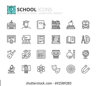 Outline icons about school. Editable stroke. 64x64 pixel perfect.
