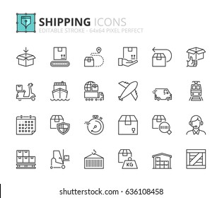 Outline icons about shipping. Editable stroke. 64x64 pixel perfect.