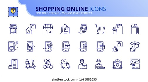 Outline icons about shopping online and delivery.  Editable stroke. Vector - 256x256 pixel perfect.