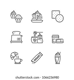 Outline icons about sweet breakfast