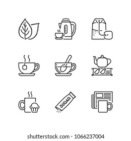 Outline icons about tea