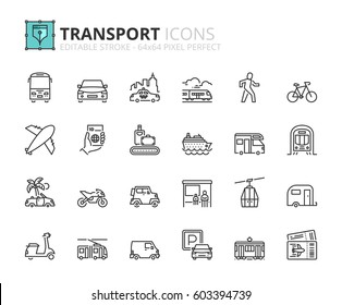 Outline icons about transport. Editable stroke. 64x64 pixel perfect.