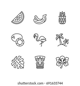 Outline icons about tropical summer.