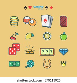 outline icons casino flat style. Card and casino, poker game, dice and ace. Vector illustration