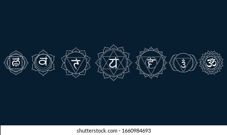 Outline icons chakras set: muladhara, swadhisthana, manipura, anahata, vishuddha, ajna, sahasrara. Vector line symbol. Om sign on a black background. EPS 10 Vector illustration