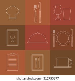 Outline icons for restaurant. Chef hat, cup, plate, fork and knife, menu list, wine glass, tray with lid.