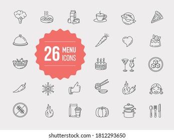 Icônes de contour pour le menu du restaurant. Illustration vectorielle de l'aliment touché