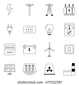 Outline icons, Set of Electrical for lighting, electricity post,Transformer, Plug,lamp, Multimeter,Watt hour Meter, Battery,Switch, Power plant of Wind,Solar,Hydro,Nuclear,Diesel,Gas. Editable stroke.
