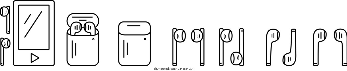 Outline icons set. Electronic devices: music player, wireless headphones. Vector illustration of EPS10