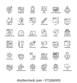 Outline icons set. Flat symbols about SEO and web development