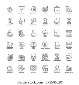 Outline icons set. Flat symbols about business