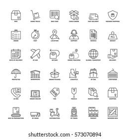 Outline icons set. Flat symbols about shipping and logistics