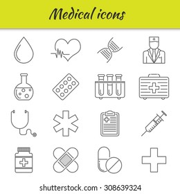 Outline icons set. Medical icons. excellent vector illustration, EPS 10