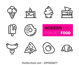 Outline icons set of street food. Vector collection, modern stroke pictogram of street fastfood - pizza, ice cream and cakes. Concept bold outline symbols.
