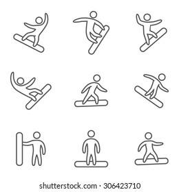 Outline icons snowboard. Linear set of figures snowboarders