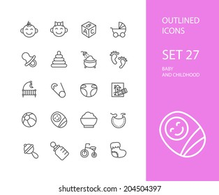 Outline icons thin flat design, modern line stroke style, web and mobile design element, objects and vector illustration icons set 27 - baby and childhood collection
