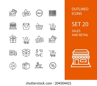 Outline icons thin flat design, modern line stroke style, web and mobile design element, objects and vector illustration icons set 20 - sales and retail collection