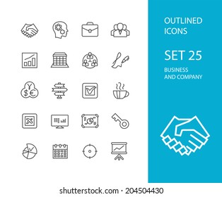 Outline icons thin flat design, modern line stroke style, web and mobile design element, objects and vector illustration icons set 25 - business and company collection