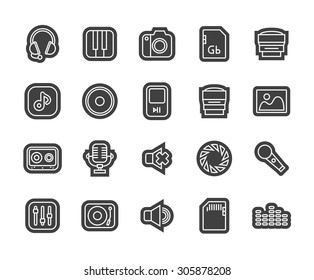 Outline icons thin flat design, modern line stroke style, web and mobile design element, objects and vector illustration icons set 11 - audio and photo collection