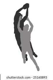 An outline illustration of an Australian Rules Football high mark (catching the ball high in the air).
