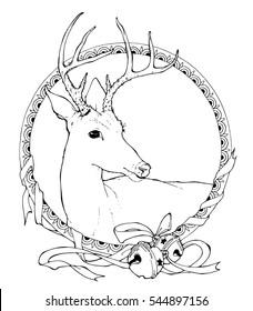 outline illustration of deer; coloring page