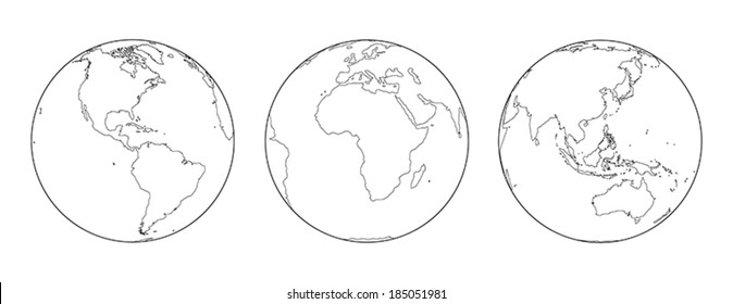 Outline illustration of the earth from three different angles: America, Europe and Africa, Asia and Australia.