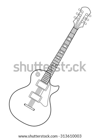 Outline Illustration Electric Guitar Stock Vector Royalty Free