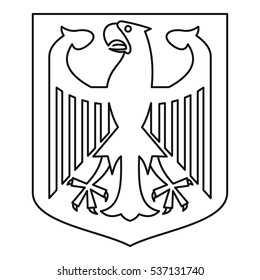 Outline illustration of german coat of arms vector icon for web