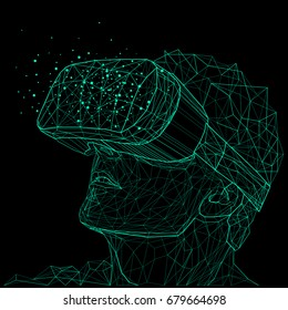 Outline illustration of a human in virtual reality glasses. Low poly geometric triangular wire graphic construction structure. Digital art