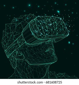 Outline illustration of a human in virtual reality glasses. Low poly geometric triangular wire graphic construction structure