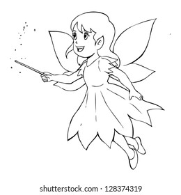 Lovely Character Doodle Fairy Cartoon Coloring Stock Vector Royalty