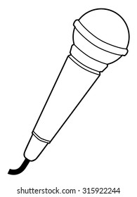 outline illustration of microphone, audio equipment