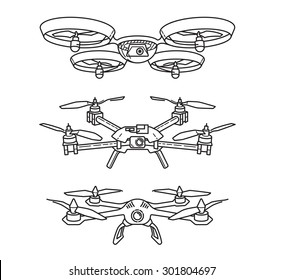 Outline illustration of quadcopters
