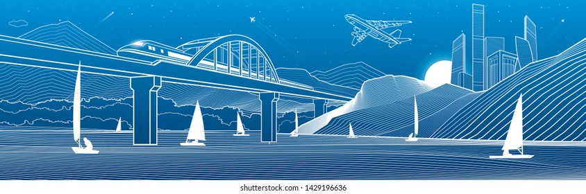 Outline illustration. View from river to night city in mountains. Yachts on water. Train travels along railway bridge. White lines on blue background. Vector design town panorama