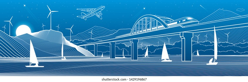 Outline illustration. View from river to night city. Windmills in mountains. Yachts on water. Train travels along railway bridge. White lines on blue background. Vector design town panorama
