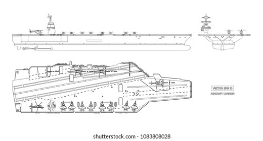 Outline image of aircraft carrier. Military ship. Top, front and side view. Battleship model. Industrial drawing. Warship in flat style. Vector illustration