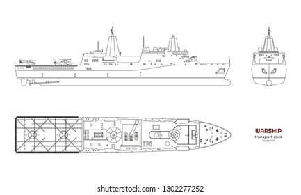 Outline image of military ship. Top, front and side view. Battleship 3d model. Industrial isolated drawing of boat. Warship USS. Vector illustration