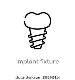 outline implant fixture vector icon. isolated black simple line element illustration from dentist concept. editable vector stroke implant fixture icon on white background