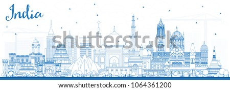 Outline India City Skyline