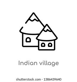 outline indian village vector icon. isolated black simple line element illustration from culture concept. editable vector stroke indian village icon on white background