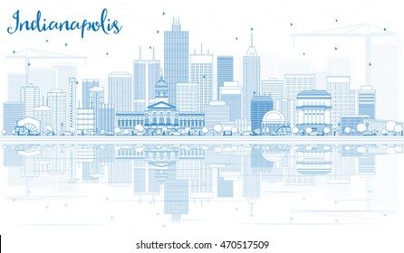 Outline Indianapolis Skyline with Blue Buildings and Reflections. Vector Illustration. Business Travel and Tourism Concept with Modern Buildings. Image for Presentation Banner Placard and Web Site.